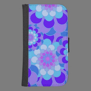 Blue and Purple Floral Samsung S4 Wallet Case Galaxy S4 Wallets