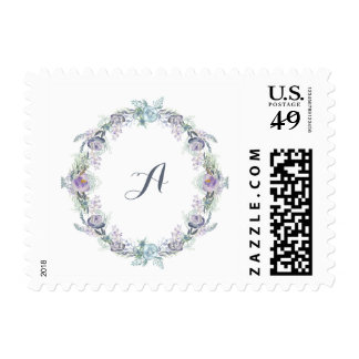Blue and Purple Floral Wreath Wedding Monogram Postage
