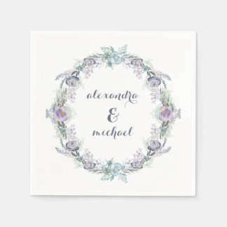 Blue and Purple Floral Wreath Wedding Paper Napkin