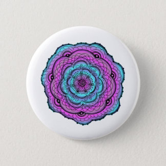 Blue And Purple Flower Doodle Pinback Button