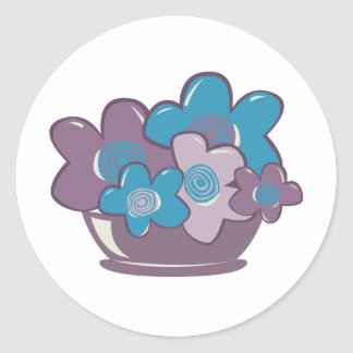 Blue and Purple Flowers Classic Round Sticker