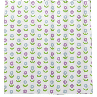 Blue and Purple Flowers Pattern Shower Curtain