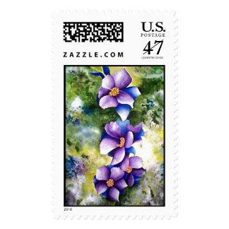 Blue and Purple Flowers Postage