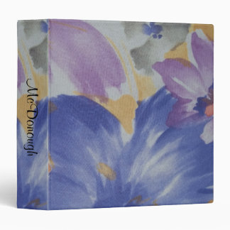 Blue and Purple Flowers Watercolor 3 Ring Binder