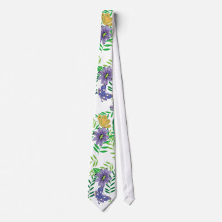 Blue and Purple Flowers with Butterflies Neck Tie