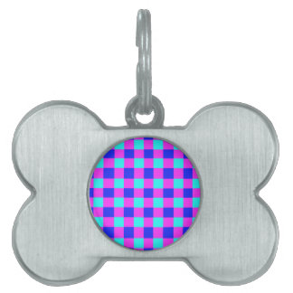 Blue and Purple Gingham Pattern Pet Tag