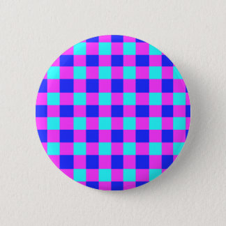 Blue and Purple Gingham Pattern Pinback Button