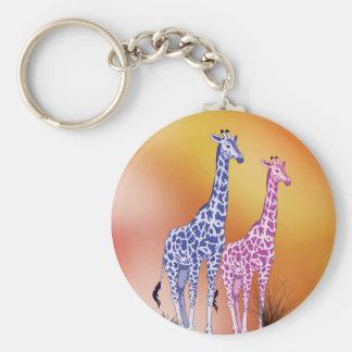 Blue and Purple Giraffes Key Chains