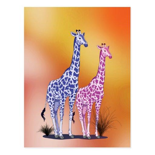 Blue and Purple Giraffes Postcard