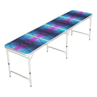 Blue And Purple Gradient Abstract Pattern Beer Pong Table