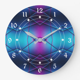 Blue And Purple Gradient Abstract Pattern Large Clock