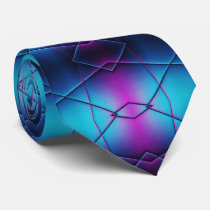 Blue And Purple Gradient Abstract Pattern Neck Tie