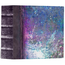 Blue and Purple Grunge Faux Leather Ancient Tome 3 Ring Binder