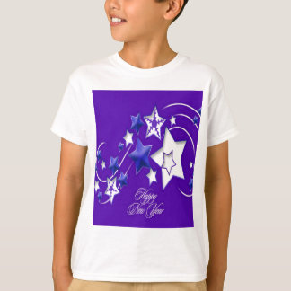 Blue and Purple Happy New Year Shooting Stars T-Shirt