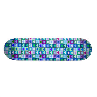 Blue and Purple Hearts Girls Skateboard
