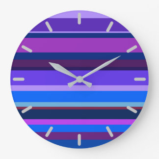 Blue and purple horizontal stripes large clock