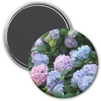 Blue and Purple Hydrangea 3 Inch Round Magnet