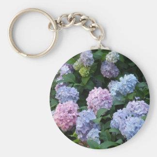 Blue and Purple Hydrangea Basic Round Button Keychain