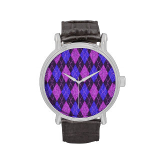 Blue and Purple Jersey Knitted Diamonds Watch