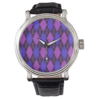 Blue and Purple Jersey Knitted Diamonds Watch