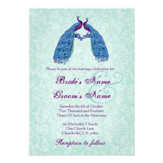 Blue and Purple  Lovebird Peacocks Wedding Invite