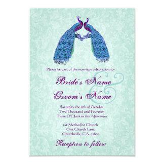 Blue and Purple  Lovebird Peacocks Wedding 5x7 Paper Invitation Card
