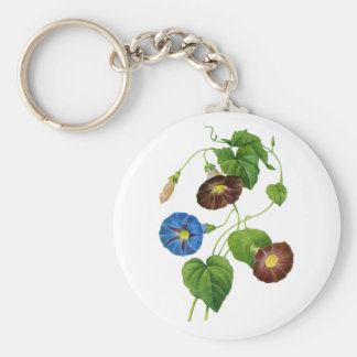Blue and Purple Morning Glory Vines by Redoute Keychain