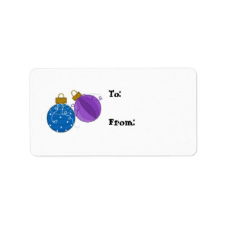 Blue and Purple Ornaments Gift Tag