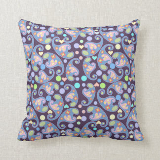 Blue and Purple Paisley pattern Throw Pillow