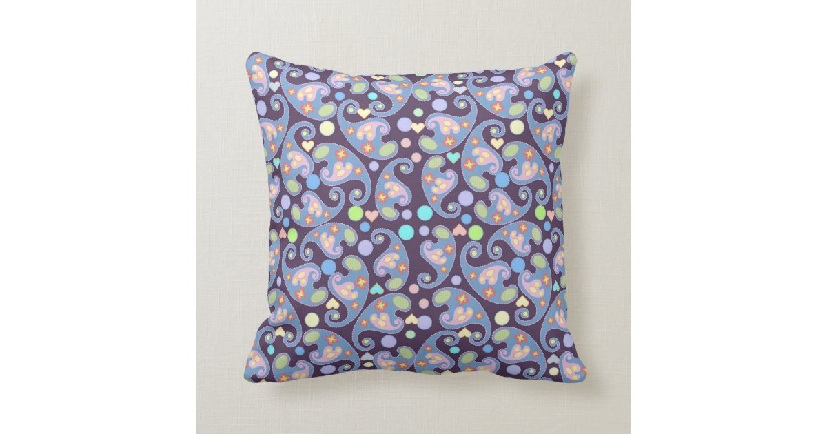 Blue And Lavender Throw Pillows : Blue and Purple Paisley pattern Throw Pillow Zazzle