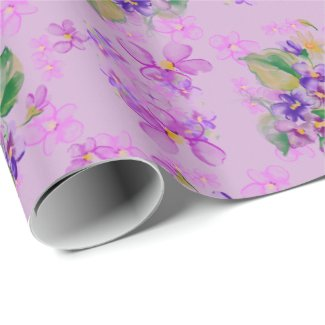 Blue and Purple Pansies Wrapping Paper