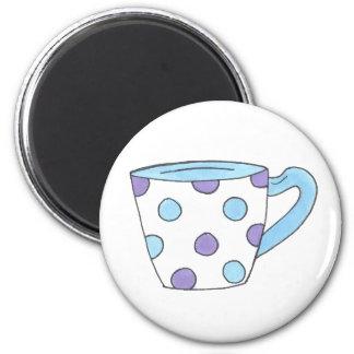Blue and Purple Polka Dot Tea Cup Teacup Magnet