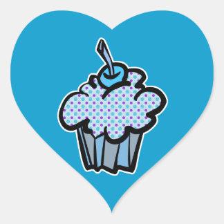 blue and purple polka dots cupcake sticker