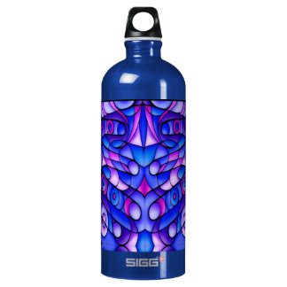 Blue And Purple Psychedelic Swirls Aluminum Water Bottle