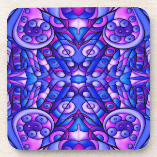 Blue And Purple Psychedelic Swirls Beverage Coaster