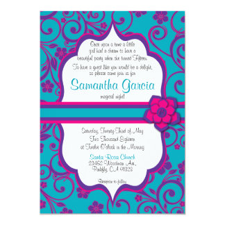 Blue and Purple Quinceañera Invitation, Sweet 15 Card