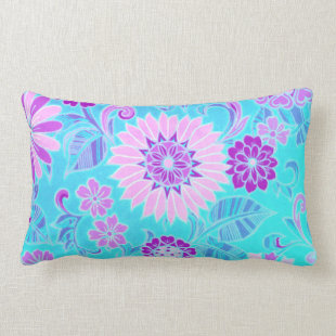 Blue and Purple Retro Flower Pillow