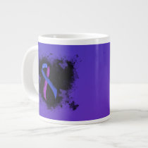 Blue and Purple Ribbon Grunge Heart Giant Coffee Mug
