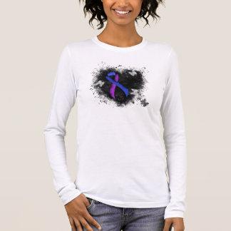Blue and Purple Ribbon Grunge Heart Long Sleeve T-Shirt