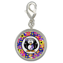 Blue and Purple Ribbon Penguin Charm