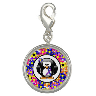 Blue and Purple Ribbon Penguin Charm