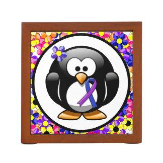 Blue and Purple Ribbon Penguin Desk Organizers