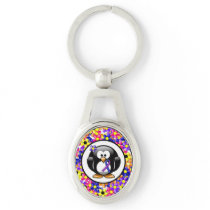 Blue and Purple Ribbon Penguin Keychain