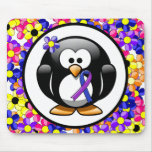 Blue and Purple Ribbon Penguin Mouse Pad