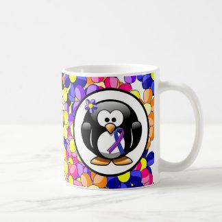 Blue and Purple Ribbon Penguin Coffee Mugs