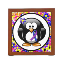 Blue and Purple Ribbon Penguin Pencil Holder