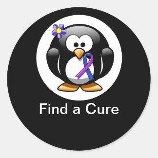 Blue and Purple Ribbon Penguin Classic Round Sticker