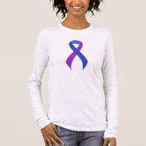 Blue and Purple Ribbon Support Awareness Long Sleeve T-Shirt