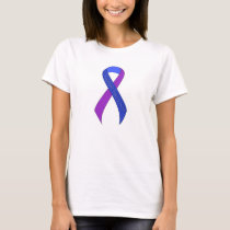 Blue and Purple Ribbon Support Awareness T-Shirt