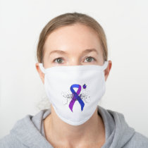 Blue and Purple Ribbon with Butterfly White Cotton Face Mask